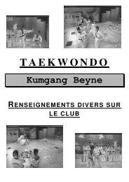 le fascicule du club - Taekwondo Kumgang Beyne-Heusay