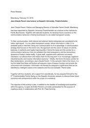 Press Release Meersburg, February 10, 2010. Jean-Claude Parent ...
