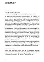 Schindler Parent Identity, Berlin gewinnt GWA Profi-Award 2010.