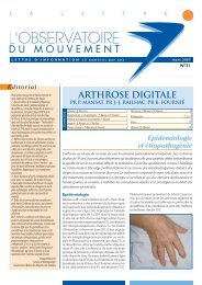 N° 21 Arthrose Digitale - Observatoire du Mouvement