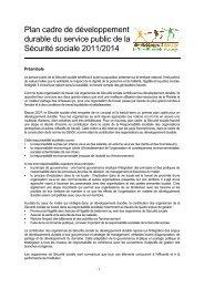 Plan cadre de développement durable du service public - Ucanss