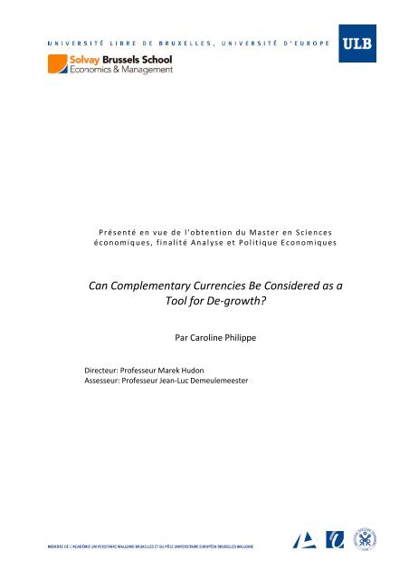 Can Complementary Currencies Be Considered As A Tool For De