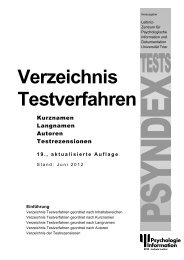 Verzeichnis Testverfahren - Einführung - ZPID
