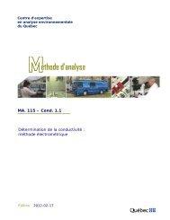MA. 115 – Cond. 1.1 Détermination de la conductivité : méthode ...