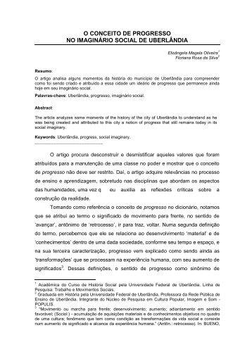O CONCEITO DE PROGRESSO NO IMAGINÁRIO ... - FUCAMP