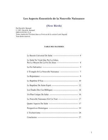 Les Aspects Essentiels de la Nouvelle Naissance ... - Global Tracts