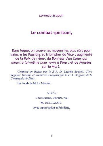 Le combat spirituel - Laurent Scupoli.pdf - Abbaye Saint Benoît de ...
