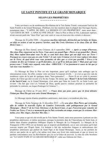 le saint pontife et le grand monarque - Frère Elyôn Prophète du ...