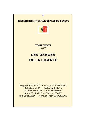 Les usages de la liberté - Rencontres Internationales de Genève