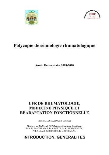 Polycopie de sémiologie rhumatologique - medramo