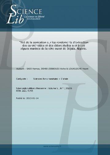 Effet de la sonication sur les rendements d'extraction ... - Sciencelib