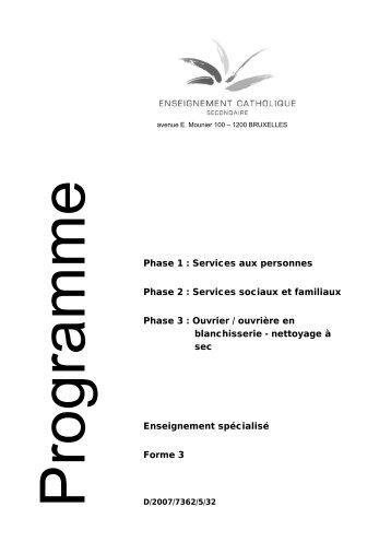 Enseignement spécialisé Forme 3 Phase 1 : Services aux ... - SeGEC