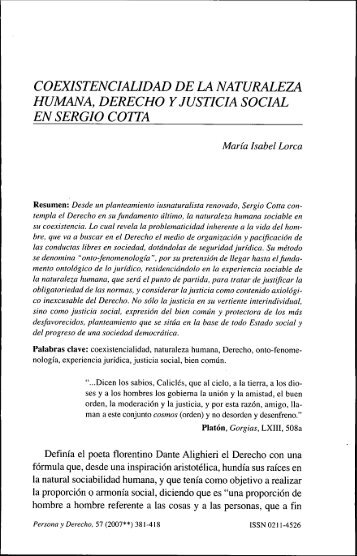 coexistencialidad de la naturaleza humana, derecho y justicia social ...