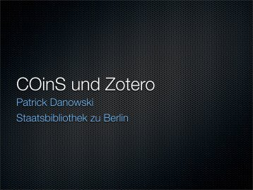 COinS und Zotero - OPUS Bayern