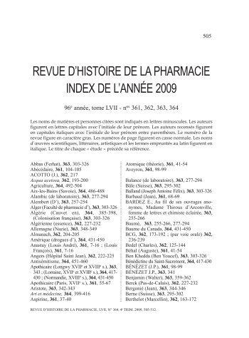 Nouvel Index de la Revue (2009) - Société d'Histoire de la Pharmacie