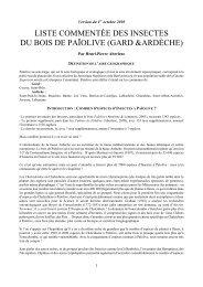 la liste provisoire des Insectes du Bois de Païolive - site aberlentomo.fr