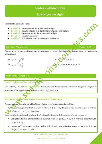 Les suites numériques 1. Vocabulaire et notations ...