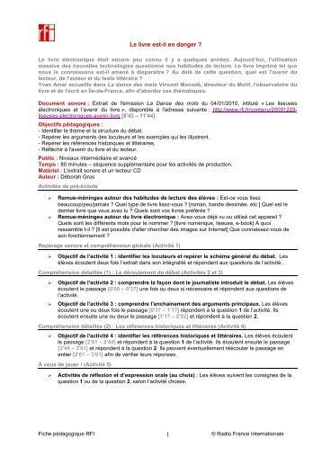 """Télécharger la fiche pédagogique """"Le livre est-il en danger ?"""" - RFI"""