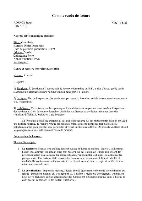 Compte Rendu D Un Texte Exemple Pdf - Texte Préféré