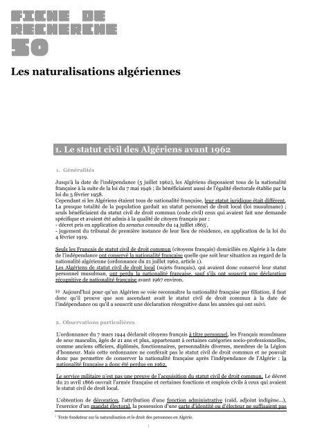 Les Naturalisations Algeriennes Archives Nationales