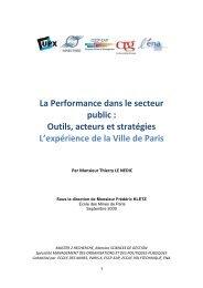 La Performance dans le secteur public : Outils, acteurs et stratégies ...