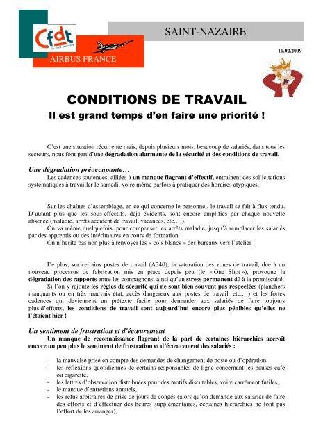 Conditions De Travail Il Est Grand Temps D Cfdt Airbus