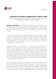 LG présente ses initiatives écologiques pour l ... - LG Electronics