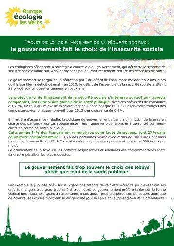 Propositions pour la sécurité sociale - Anny Poursinoff
