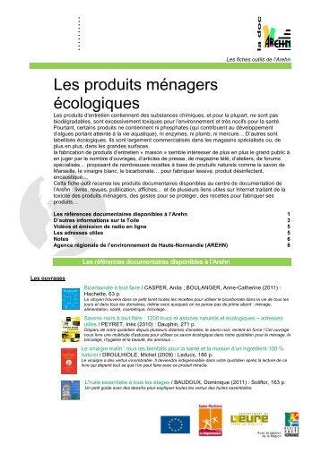 Les produits ménagers écologiques - centre de documentation de l ...