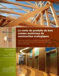 La vente de produits du bois comme matériaux de construction ...