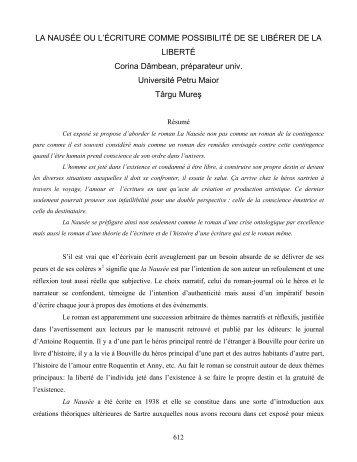 LA NAUSÉE OU L'ÉCRITURE COMME POSSIBILITÉ DE SE ...