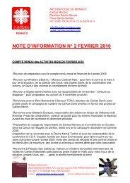 NOTE D'INFORMATION N° 2 FEVRIER 2010 - caritas monaco