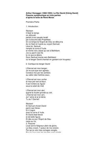 Psaume symphonique en trois parties d'après le texte de René Morax