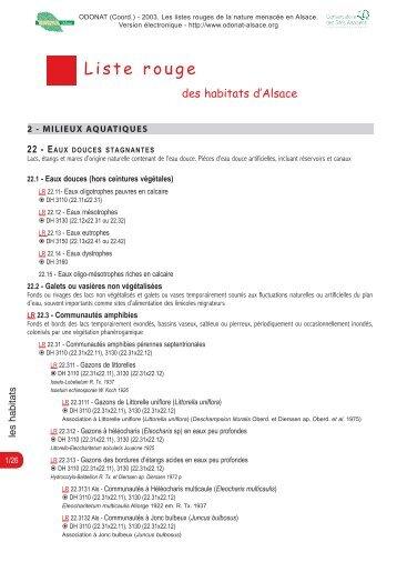 La liste rouge des habitats en Alsace (1 Mo) - Odonat