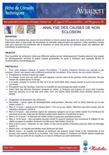 ANALYSE DES CAUSES DE NON ECLOSION - Aviagen Turkeys