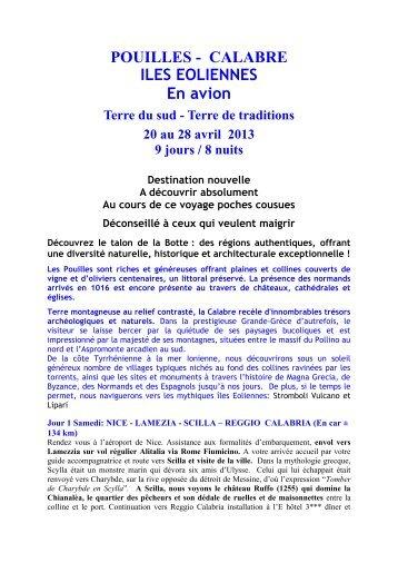 POUILLES - CALABRE - Evasion Loisirs Culture