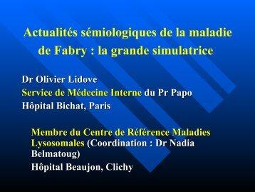 Actualités sémiologiques de la maladie de Fabry : la grande ... - CETL