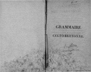 Grammaire celto-bretonne - Université Rennes 2