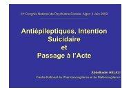 Antiépileptiques, Intention Suicidaire - Centre National de ...