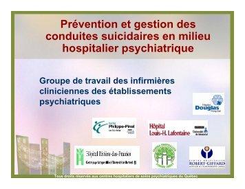 Prévention et gestion des conduites suicidaires en milieu hospitalier ...