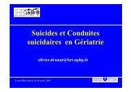 Suicides et conduites suicidaires en gériatrie (Olivier Drunat)