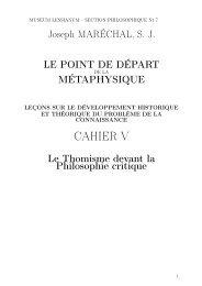 J.Maréchal, Le point de depart de la métaphysique Cahier V 1926 ...