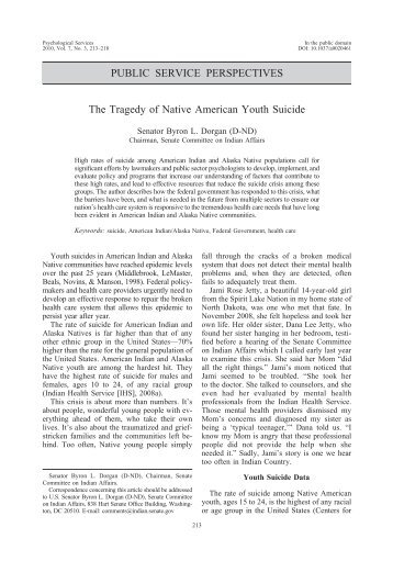 youth suicide in native americans essay Suicide rates for native american adults and youth are higher than the national  average, with suicide being the second leading cause of death.