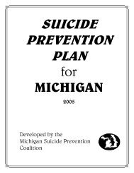 Suicide prevention plan - Michigan Child Death Review