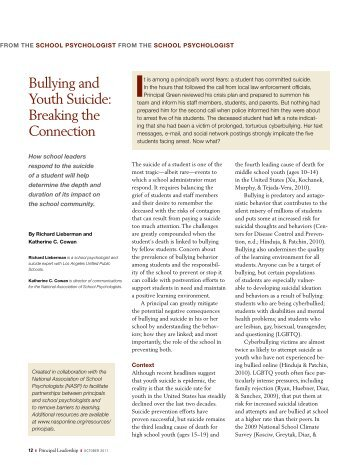 Bullying and Youth Suicide - National Association of School ...