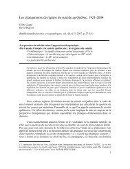 Les changements de régime du suicide au Québec - Faculté des ...