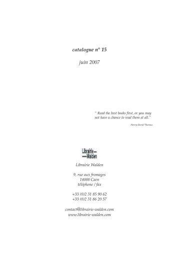 catalogue n° 15 juin 2007 - Librairie Walden