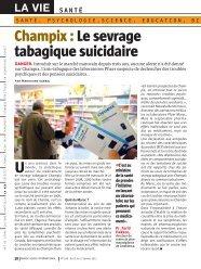 Champix : Le sevrage tabagique suicidaire - Maroc Hebdo