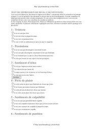 1 - Tristesse 2 - Pessimisme 3 - Sentiment d'échec 4 - Psychaanalyse