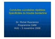 Conduites suicidaires répétées Spécificités du ... - HUG - SPA-S